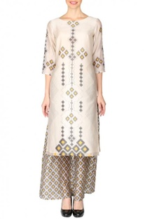 Beige, black & yellow  aztec printed tunic with palazzos