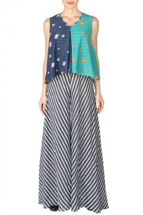 Navy blue & sea green aztec striped jumpsuit