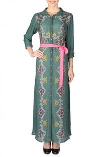 Deep olive & pink floral printed shirt dress