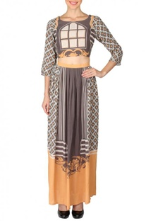 Beige, black & yellow printed crop top with skirt