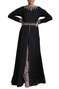 Black & beige slit tunic with printed trousers