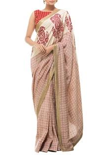 Cream & red motif printed sari