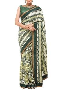 Cream & deep green motif printed sari