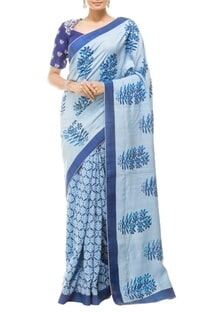 Sky blue floral printed & embroidered sari