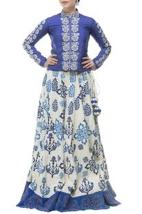 Royal blue & white motif printed & embroidered lehenga set