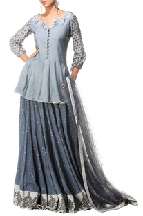 Grey motif printed & embellished lehenga set