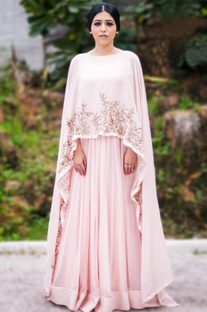 Blush pink & gold embellished cape gown
