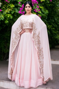 Blush pink & gold leaf embroidered lehenga set