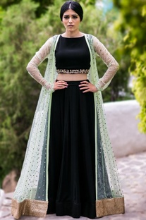 Mint embellished jacket with black crop top & lehenga
