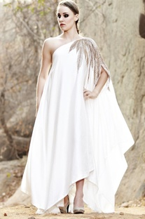 Ivory leaf embellished one shoulder dress