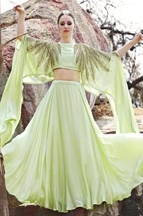 Mint green embellished cape with lehenga