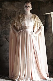 Blush pink embellished cape with lehenga