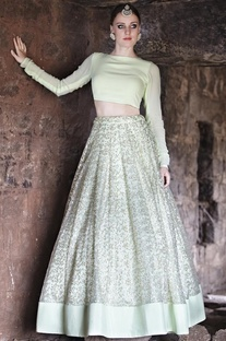 Mint crop top with embroidered lehenga
