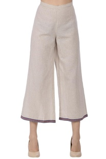 Ecru & blue striped straight pants