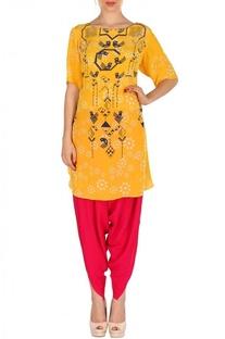 Yellow & fuschia geometric bird printed tunic with patiala