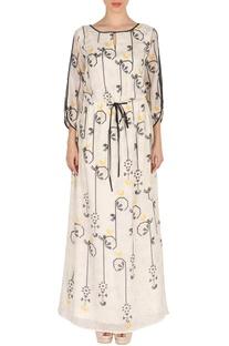 White bird print maxi dress