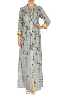Grey & yellow bird printed maxi shirt dress