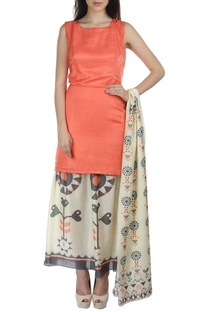 Peach & white motif printed dress with dupatta