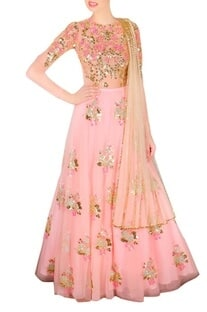 Blush pink & beige embellished lehenga set