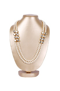 Gold plated kundan & pearl necklace