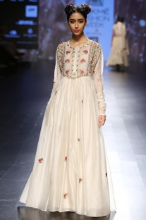 Cream floral embroidered & sequin embellished maxi dress