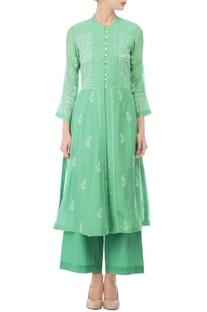 Fine awadhi embroidered turquoise kurti & palazzo set