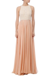 Peach & ivory embroidered maxi gown