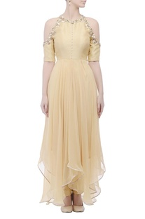 Beige cold-shouldered gown