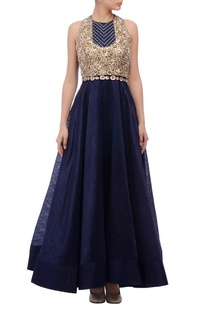 Blue yoke embellished gown