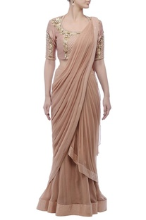 Coffee brown embroidered sari