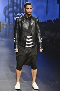 Black leather quilted jacket with white detailing
