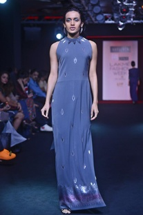 Charcoal grey embroidered gown