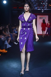 Deep purple sequin embroidered dress