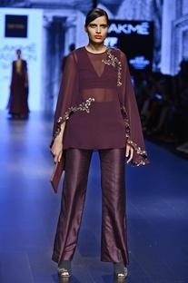 Aubergine floral motif embellished top & pant set