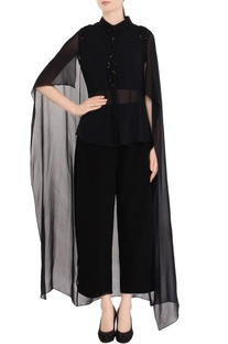 Black embellished cape shirt & pant