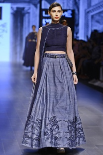 Grey & blue pleated raw silk lehenga set
