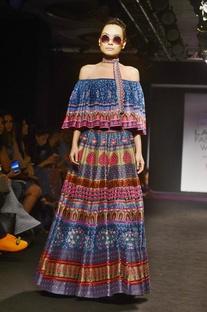 Multicolored printed & embellished skirt