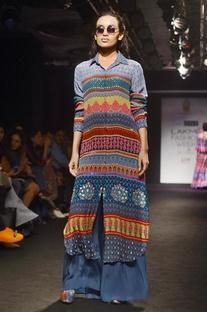 Multicolored embellished shirt tunic