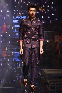 Purple silk kurta,churidaar & bandi