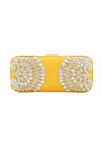 Yellow japanese beadwork box clutch