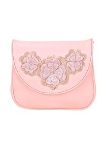 Blush pink japanese beadwork embellished clutch
