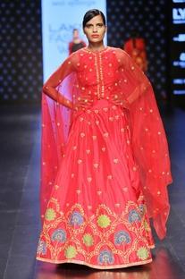 Red embellished lehenga set