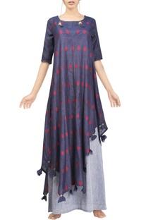 Indigo motif handwoven jamdani tunic with grey floral skirt