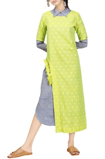 Lime dotted handwoven jamdani & pale blue dress
