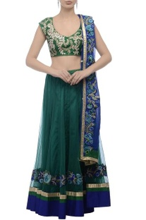 Green & blue embroidered lehenga