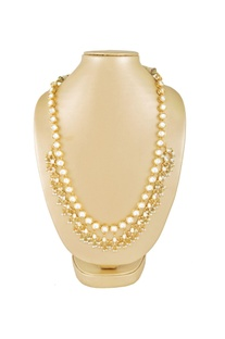 Gold kundan & pearl beaded necklace