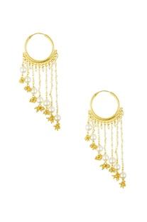 Golden pearl embellished hoop dangler earrings