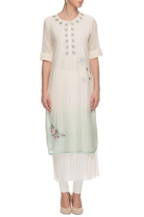 Sage green layered kurta