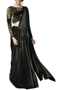 Olive green embroidered draped sari