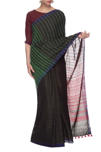 Black & green striped handwoven sari